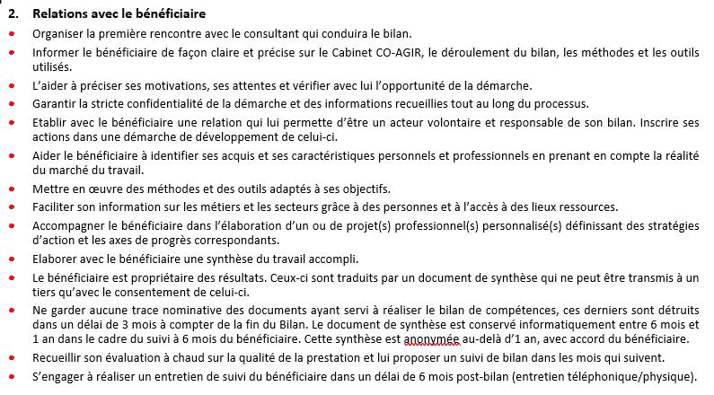 charte du bilan de compétence partie 2.