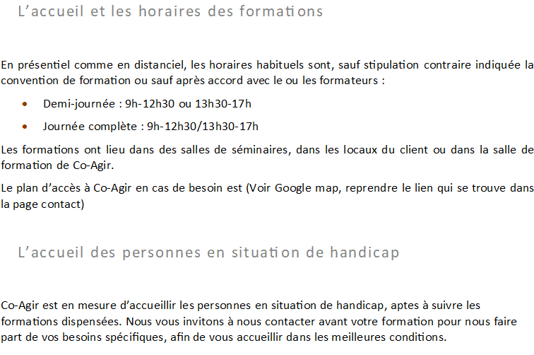 Conditions d'accueil 1
