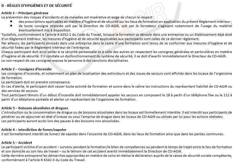 Règlement Intérieur section II