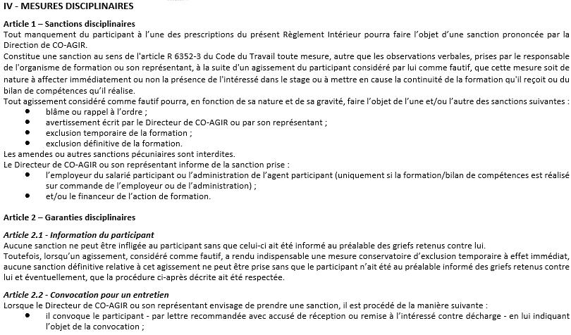 Règlement Intérieur section IV Partie 1